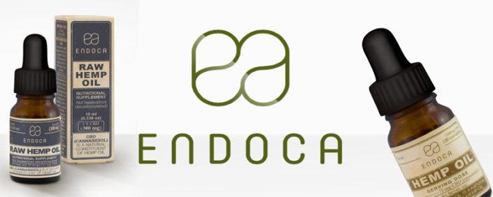 logo de endoca y botes de aceite de cbd