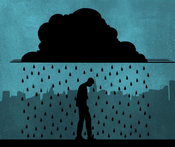 dibujo de hombre caminando bajo la lluvia