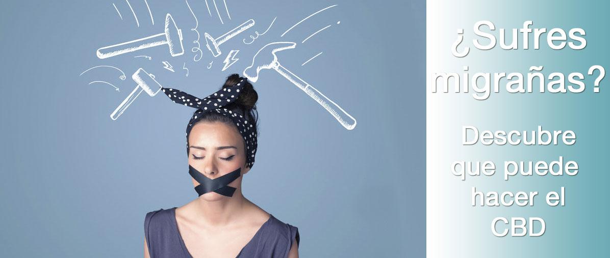 Foto de chica con dolor de cabeza migrañas